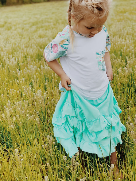 Girls Mint Ruffle Maxi Skirt