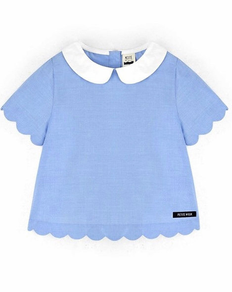 Blue Scallop Toddler Top