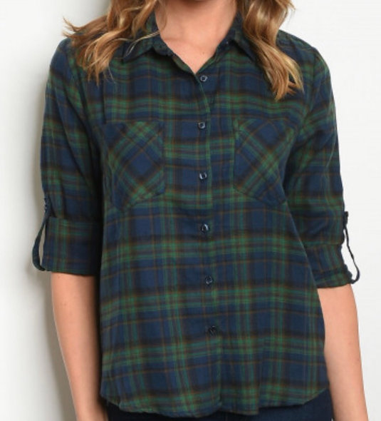 Green and Blue Plaid Shirt