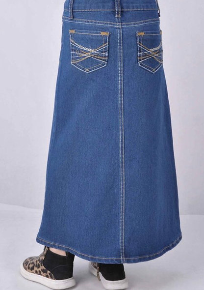 Girls Blue Denim Maxi