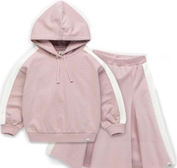 Pink Hoodie & Skirt Set