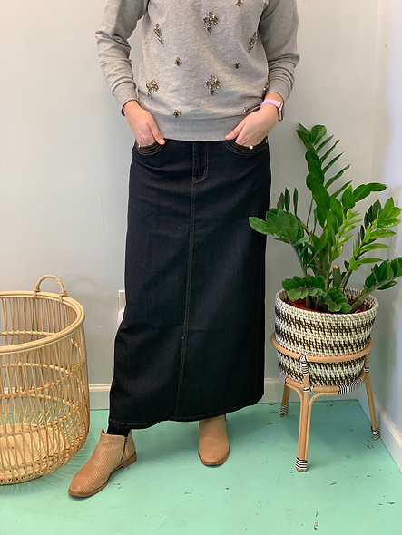 Dark denim women's maxi skirt