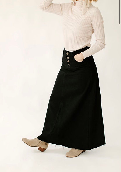 Haven Black ADenim Maxi Skirt