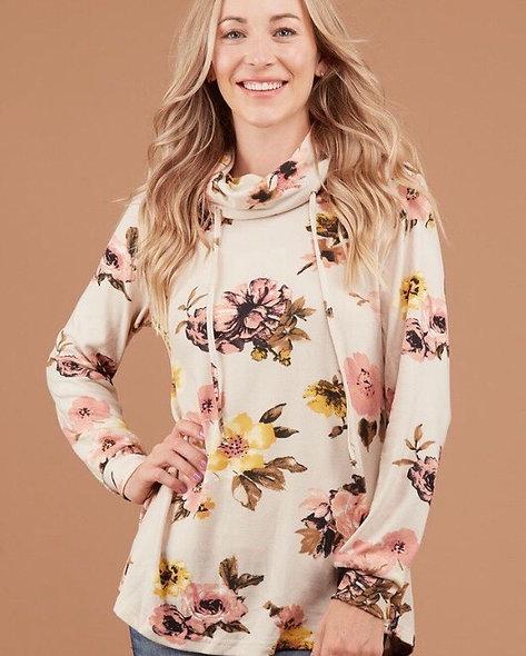 Mustard and Peach Cowl Neck Sweatshirt