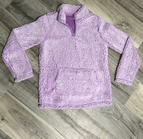 Girls Purple Sherpa Pullover