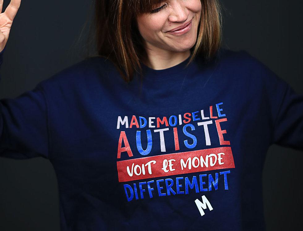 """Sweat-shirt crop """"Mademoiselle Autiste voit le monde différemment"""""""