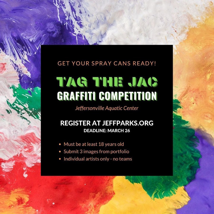 [Image description: An info graphic for the 'Tag the JAC' graffiti competition.].]