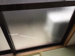 足立区 谷中 ガラス修理前