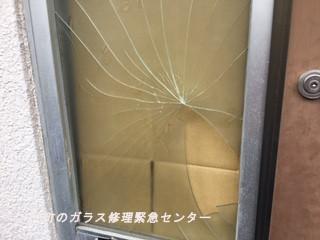 台東区 根岸 ガラス修理前