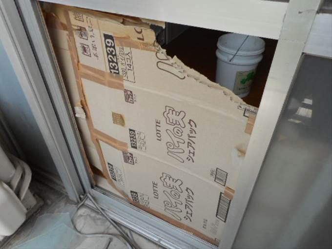 葛飾区 白鳥 窓ガラス修理・交換前