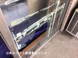 足立区 千住桜木 ガラス修理前