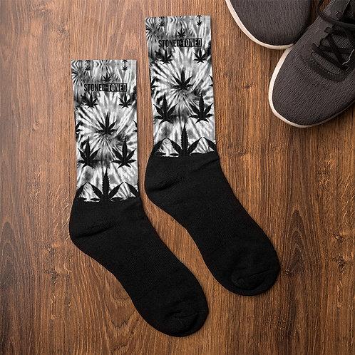 Tie Dye Print Cannabis Leaf Socks