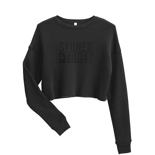 Black Logo Cropped Sweatshirt
