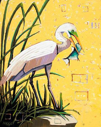 Egret On Yellow