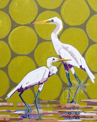Egrets on Green
