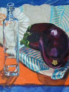 Aubergine with Glass Bottle
