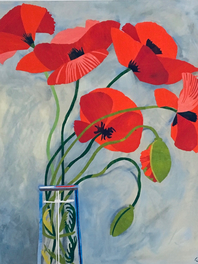 Red Poppies in a Glass Jar