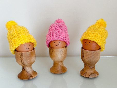 Learn to Crochet and Make these Cute Bobble Hat Egg Cosies