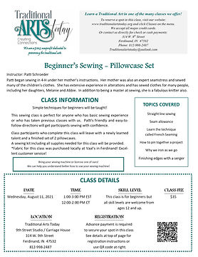 Beginner's Sewing - Pillowcase Set with Patti Schroeder SESSION 1