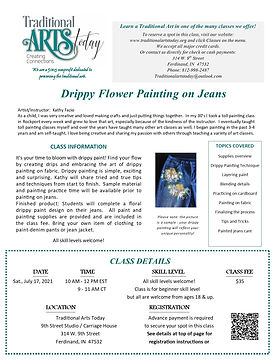 Drippy Flower Painting on Jeans