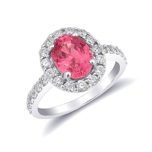 14k White Gold 3.09ct TGW Neon Tanzanian Spinel and White Diamond Ring