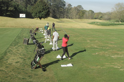 Golfers perfecting their swing