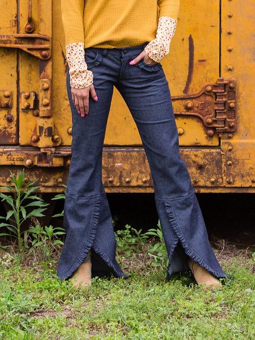 Ruffle Flare Jeans