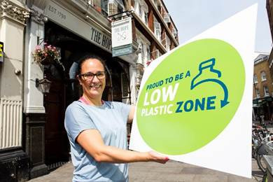 A 'low plastic zone' has been unveiled today in London after three quarters of businesses in Islington 'successfully, and permanently reduced the single-use plastic they give to their customers'.