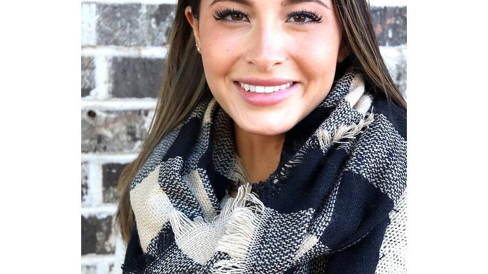 Black and tan plaid infinity scarf