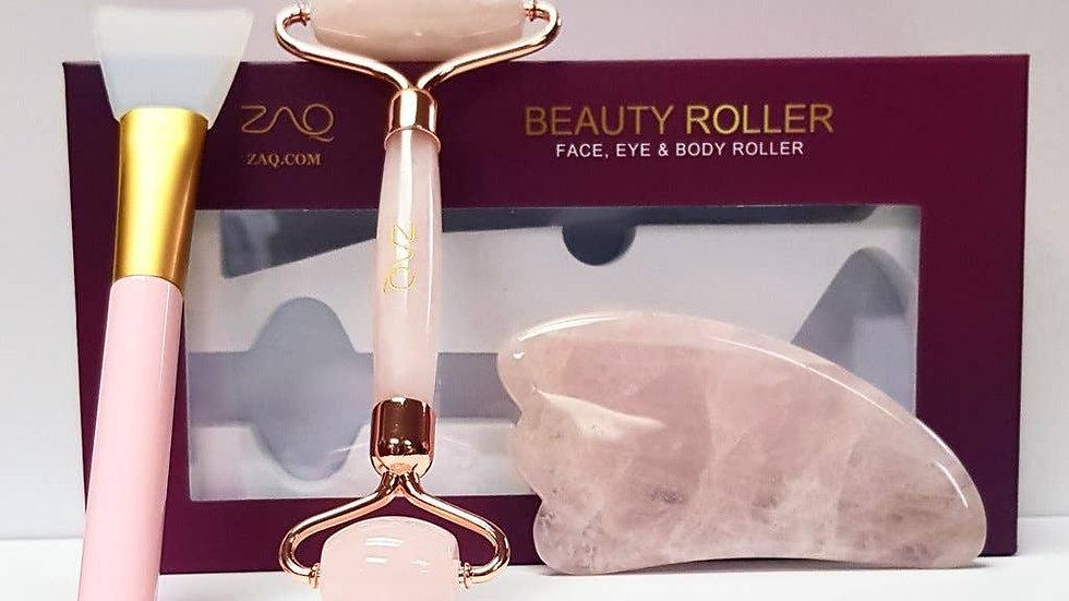 Rose Quartz Facial Roller, Gua Sha Board + Brush Set