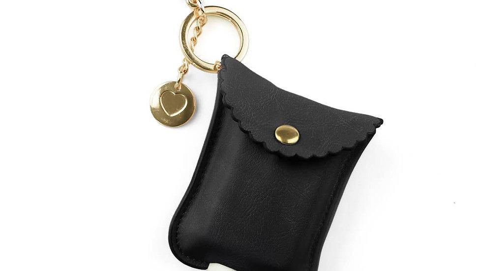 Black Hand Sanitizer Charm Keychain