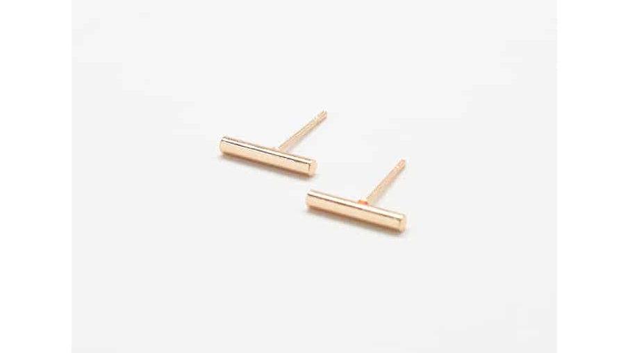 Gold Slim Bar Earrings