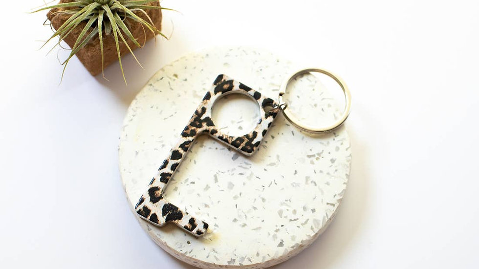Leopard Pattern No Touch Button Pusher and Door