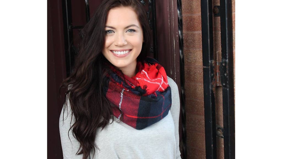Navy and red plaid infinity scarf