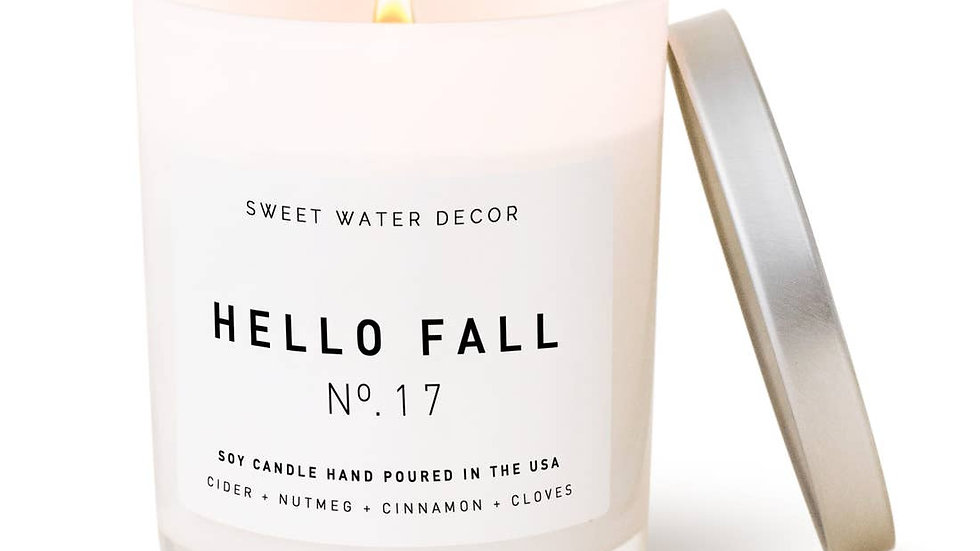 Hello Fall Soy Candle | White Jar Candle