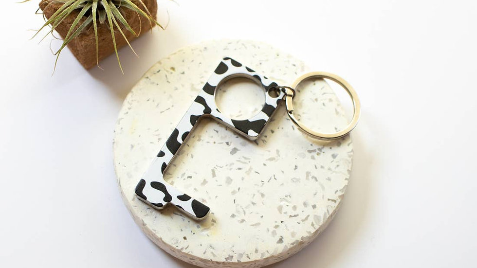 Cow Print Pattern No Touch Button Pusher and Door
