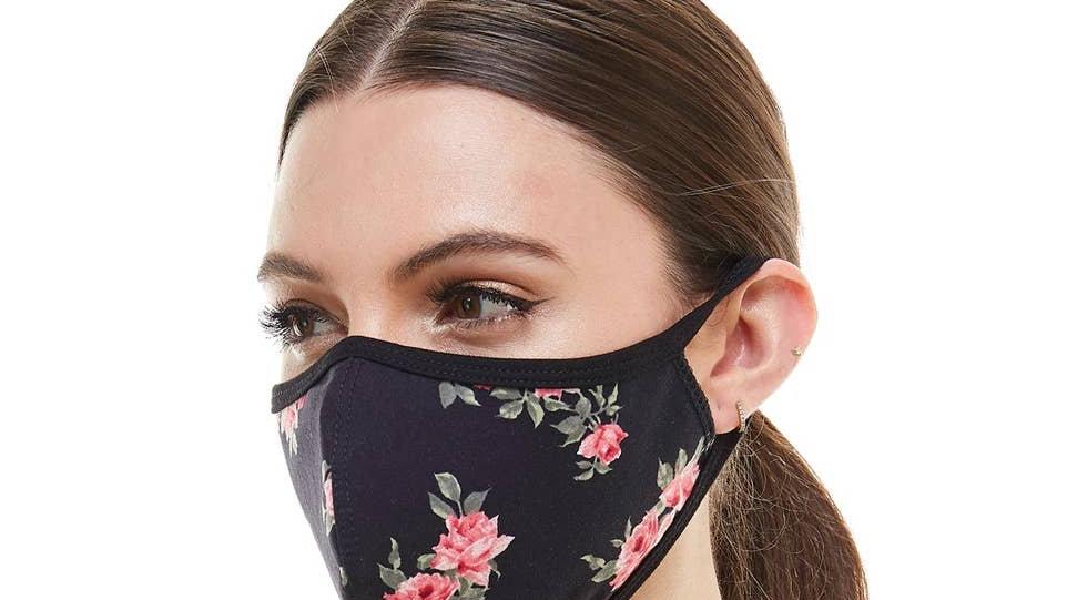 Black flower fashion mask cloth reusable fabric face mask
