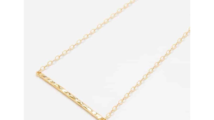 Gold Thin Hammered Bar Necklace