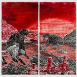 Revelation 2019, woodcut, rubbing, drawing, ink on handmade Kozo & Abaca Paper, 80 x 80 in