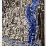 Column 2020, woodcut, rubbing, color pencil, on handmade Kozo & Abaca paper, 71 x 52 in