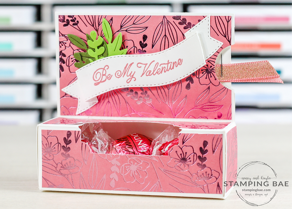 Love You Always Chocolate Box with Stampin' Up! Floral Dies and Always in my Heart Stamp Set