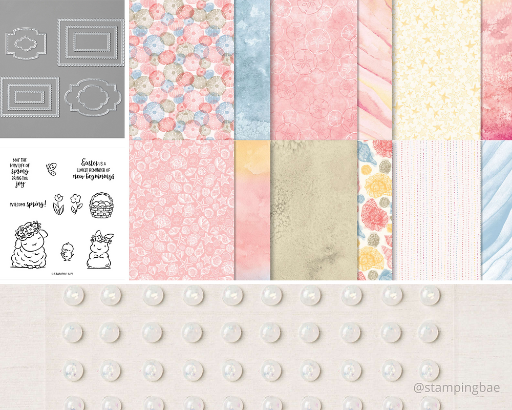 Springtime Joy Stamp Set, Sand & Sea Designer Series Paper, Stitched So Sweetly Dies, Opal Rounds Stampin' Up!
