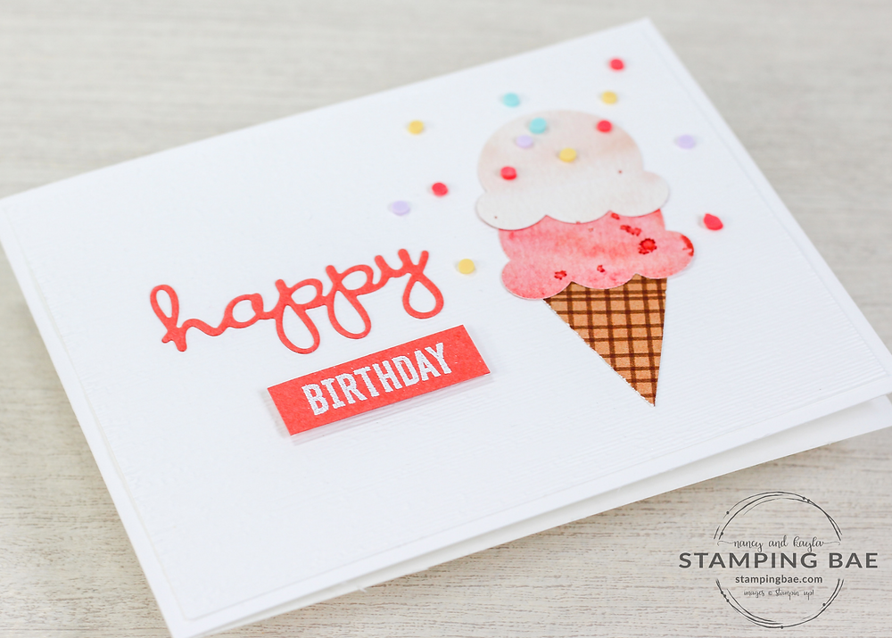 Sweet Ice Cream Card made using Stampin' Up Blending Brushes and Blackberry Bliss, Highland Heather Ink