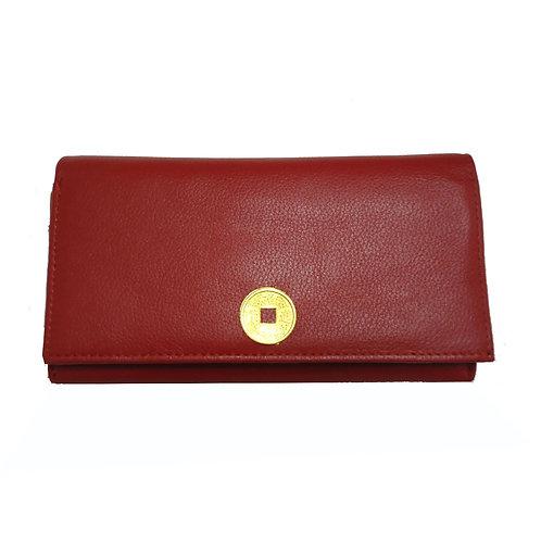 Δερμάτινο Πορτοφόλι Κόκκινο γυναικείο με το  νόμισμα I-Ching