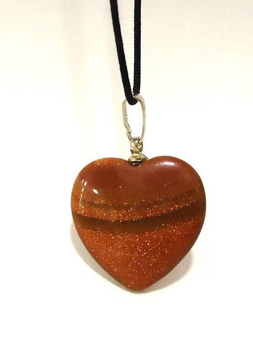 Μενταγιόν καρδιά από χρυσόλιθο