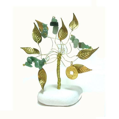 Δέντρο Tύχης από Αβεντουρίνη με το νόμισμα I-ching για καλοτυχία