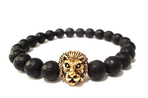 Βραχιόλι με λιοντάρι και μαύρο όνυχα (Ροζ Χρυσό)