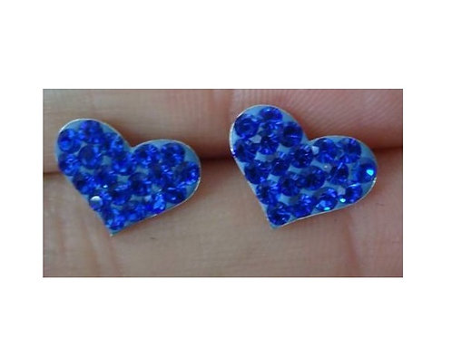 Σκουλαρίκια Καρδιές μπλέ