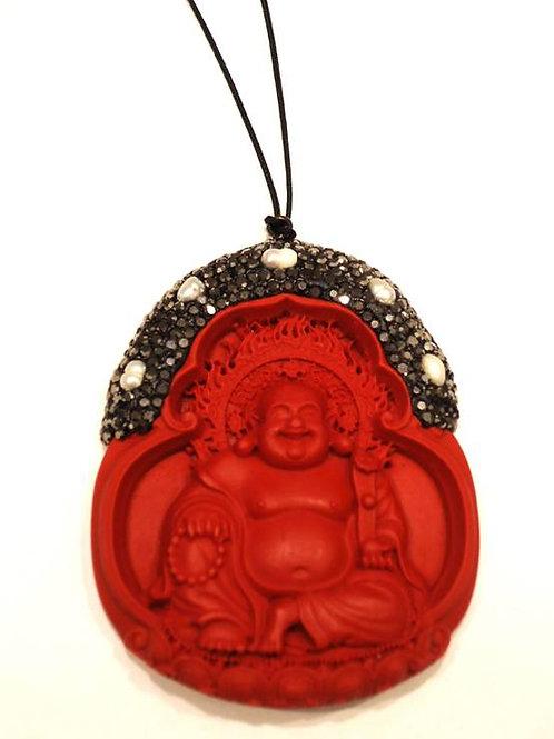 Μενταγιόν με τον γελαστό Βούδα από Κιννάβαρι