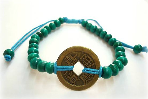 Βραχιόλι με το κινέζικο νόμισμα I-Ching-Τυρκουάζ